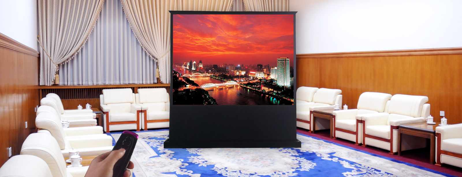 category-Pull Up Projector Screens Floor Rising Screen - Xiong-yun-XY Screens-img