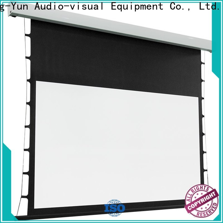 XY Screens tensioned projector screen personalized for living room