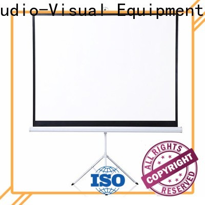 XY Screens white tripod screen personalized for office
