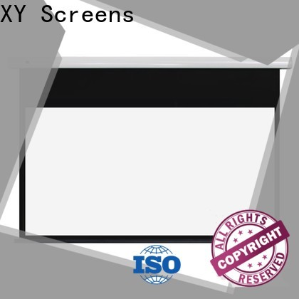 XY Screens manual tab tensioned projector screen personalized for indoors