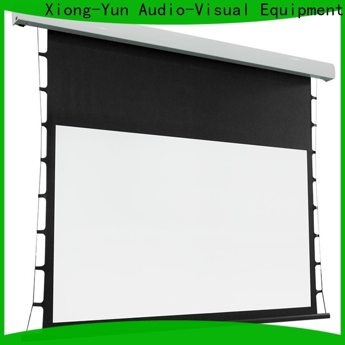 XY Screens rising tensioned projector screen personalized for indoors