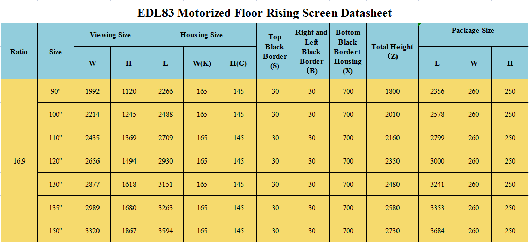 product-XY Screens-Electric Floor Rising Projector Screen EDL83-img-1