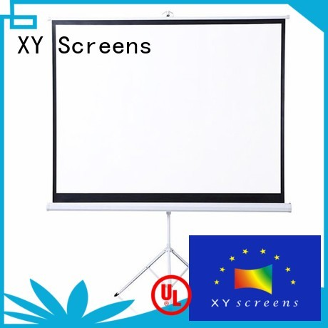 white tripod screen personalized for meeting room