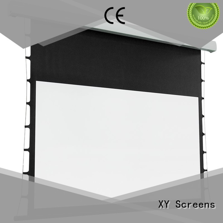 XY Screens rising add tension to projector screen for home