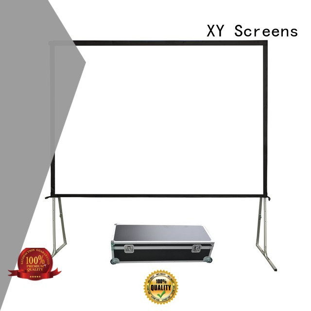 XY Screens black outdoor projector screen with stand series