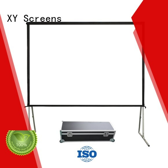 XY Screens stable outdoor movie projector personalized for public
